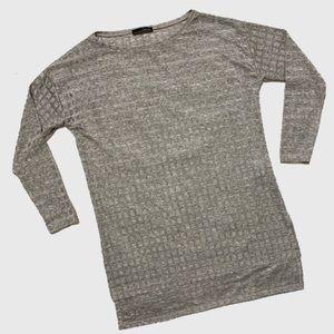Zara W&B Silver Metallic Waffle Knit Tunic sz M